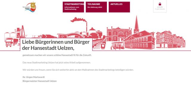 Projektwebsite des Stadtmarketings